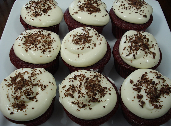 Red Velvet Cupcakes made with sour cream